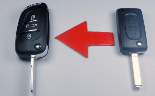 klíč vystřelovací Citroen Peugeot přestavba do nového stylu